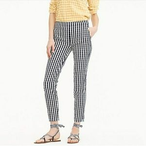 J.Crew Martie Pant in Bi-Stretch Gingham Navy Sz 8
